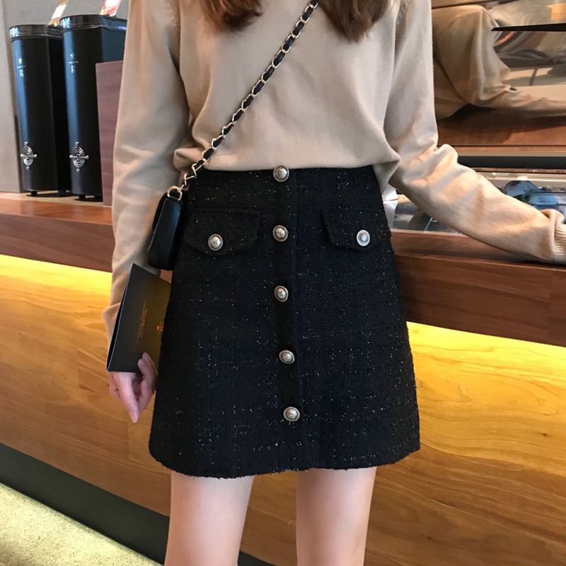 Tide brand 2020 autumn and winter plus size black high waist skirt female fat mm retro duffle small fragrant a-line bag hip skirt