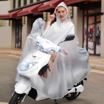 Electric bike raincoat mens and womens single-person full-body long version increased locomotive riding transparent poncho adults