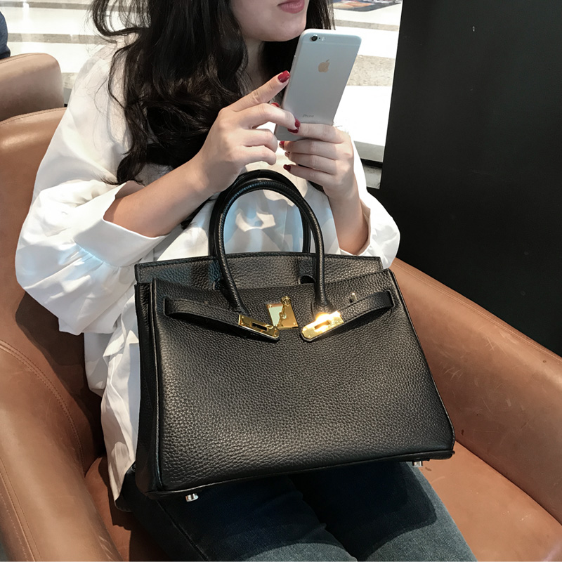 Bag female 2018 new top layer leather platinum bag leather handbags shoulder diagonal handbag big bag