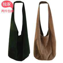 Exclusive self-made one-shoulder bag of oblique-span Baojun green rice, white grey Khaki flannel, literature and art vintage dumplings, dumplings and bicycle bags