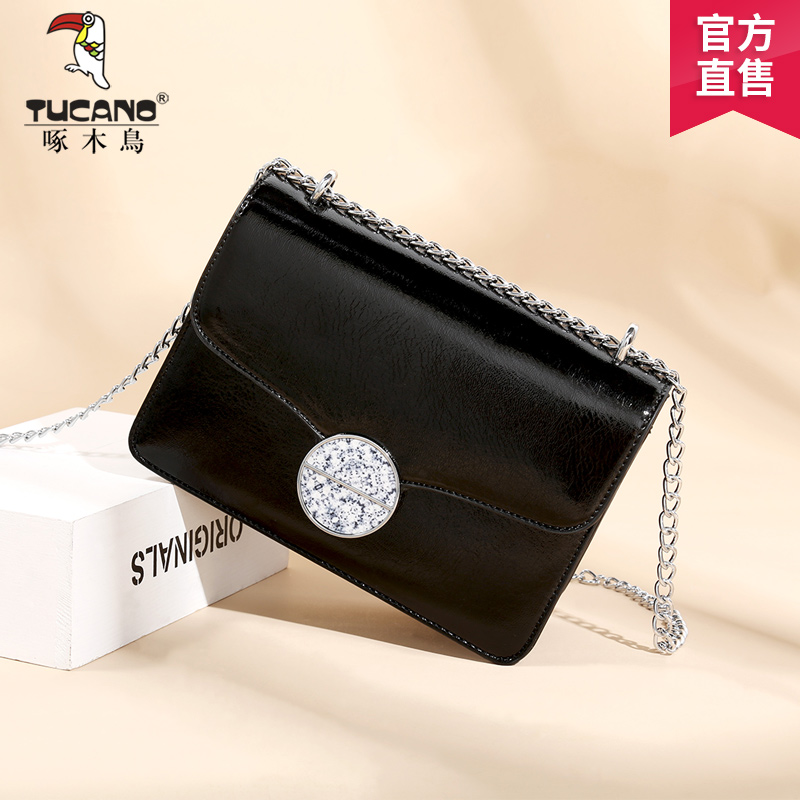 Woodpecker bag female 2018 new shoulder slung chain female bag Korean version of the slung small bag simple personality tide package