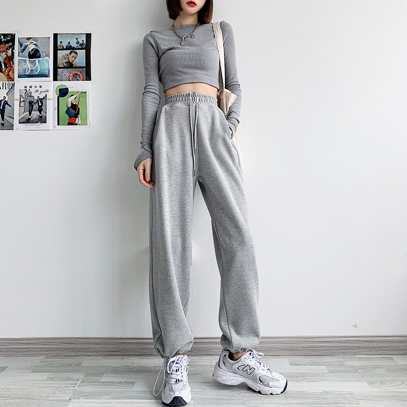 Grey sweatpants womens loose-fitting spring and autumn thin model 2021 new model thin with summer wide-legged casual pants