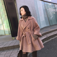 Double-sided cashmere overcoat women's medium and long style 2019 new Korean version wool small loose high-end wool jacket