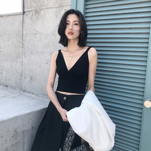 Summer 2019 New V-necktie Elastic Knitted Sleeveless Undercoat for Women Wearing Sexy Holiday Top