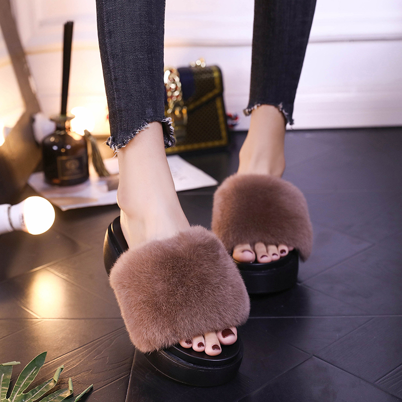 Ai Didi wool fur slippers female muffin bottom sandals and slippers sexy wild real hair rabbit fur fashion wear women's shoes