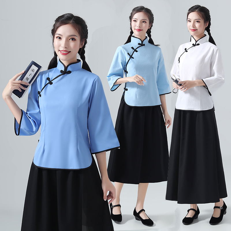 Republic of China student dress female retro graduation dress May 4th youth dress tunic chorus performance dress Republic of China style womens clothing