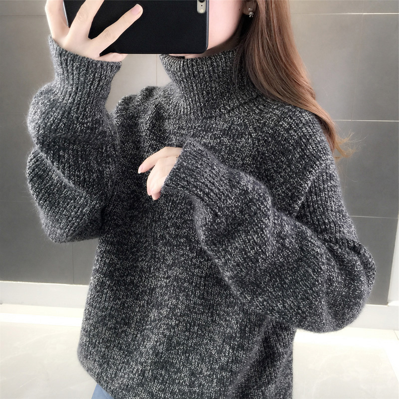 High-necked sweater female autumn winter 2020 new loose outer wear ancient lazy wind Korean version thick knitted bottoms