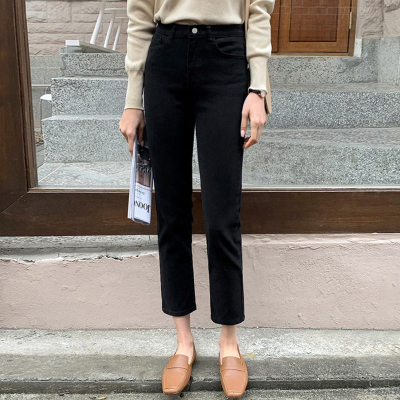 Pure black straight pants women plus-down pants autumn and winter eight-point pants small man thin high-waisted denim nine-point pants