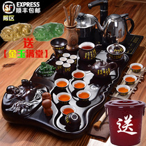 Porcelain rhyme oriental tea set Home living room simple solid wood tea tray with automatic induction cooker tea table