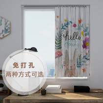 Curtain hole-free installation Velcro paste retractable Rod toilet full simple cloth shade shade bedroom small children