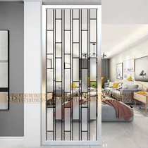 Art glass living room screen partition entry decoration modern simple cabinet glass translucent frosted porch grid