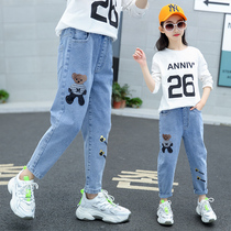 Girls pants children stretch jeans loose Daddy pants 2020 new Big childrens foreign spring wear Tide outside wear