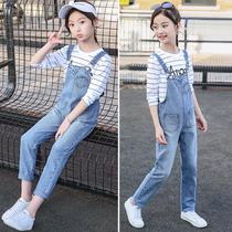 Весна и осень девушки джинсовые брюки костюм 2020 новый воздух средний большой ребенок свободные дети слинг длинные брюки