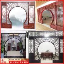 Резьба по дереву Доньян античная китайская лунная дверь с отверстием Цветочная сетка из цельного дерева Рама Богу перегородка гостиная круглая арочная дверь входная лунная дверь