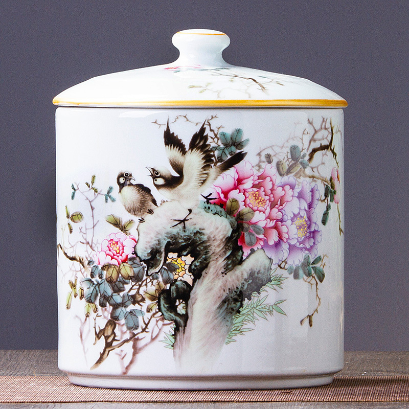 438 Jingdezhen Ceramic Ornaments Flower and Bird Ceramic Storage Tank Candy Cans Creative Home Living Room Decorations