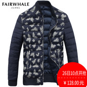Mark Ed Faye down jacket winter style feather printing warm splicing zipper casual leisure jacket