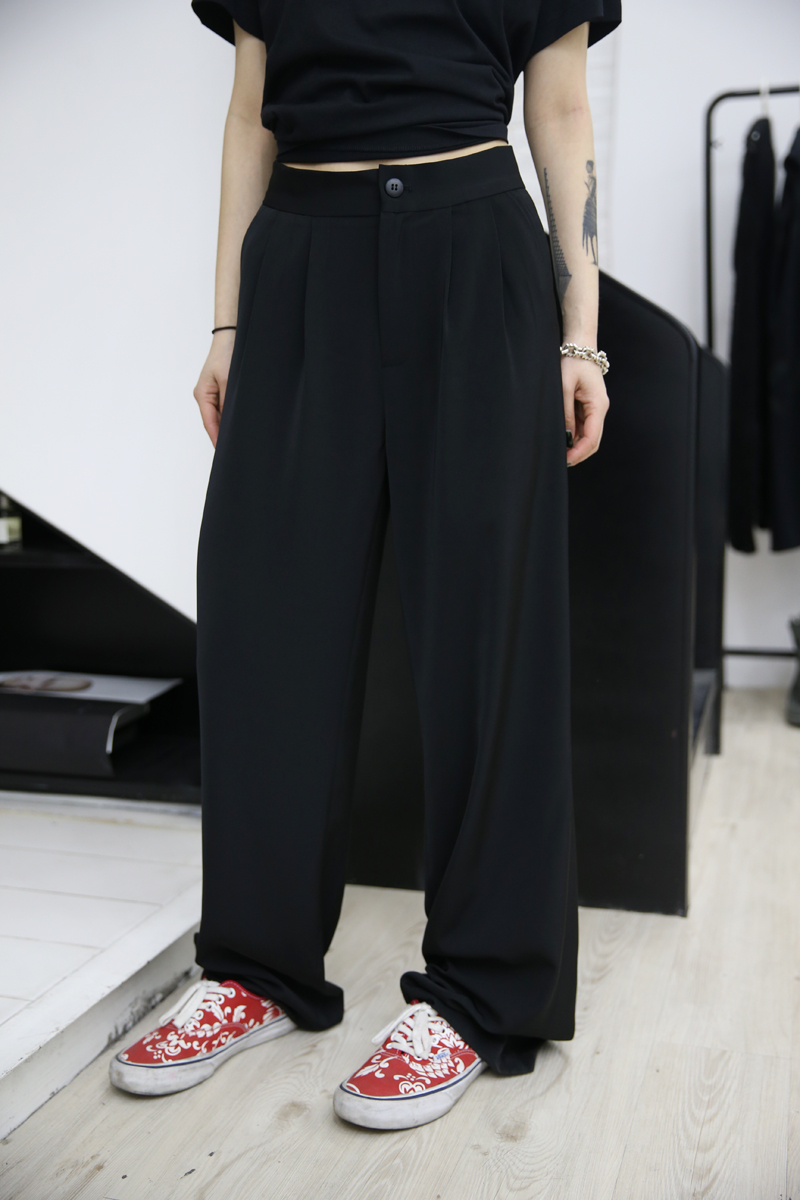 Mei Fuzzykon Black Big-name Chic and ground trousers