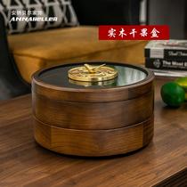 Твердая деревянная двойная коробка фрукта разделяя решетку с крышкой вращая домочадца творческого европейского китайского сухофрукта коробка живущей комнаты над коробкой конфеты Нового года