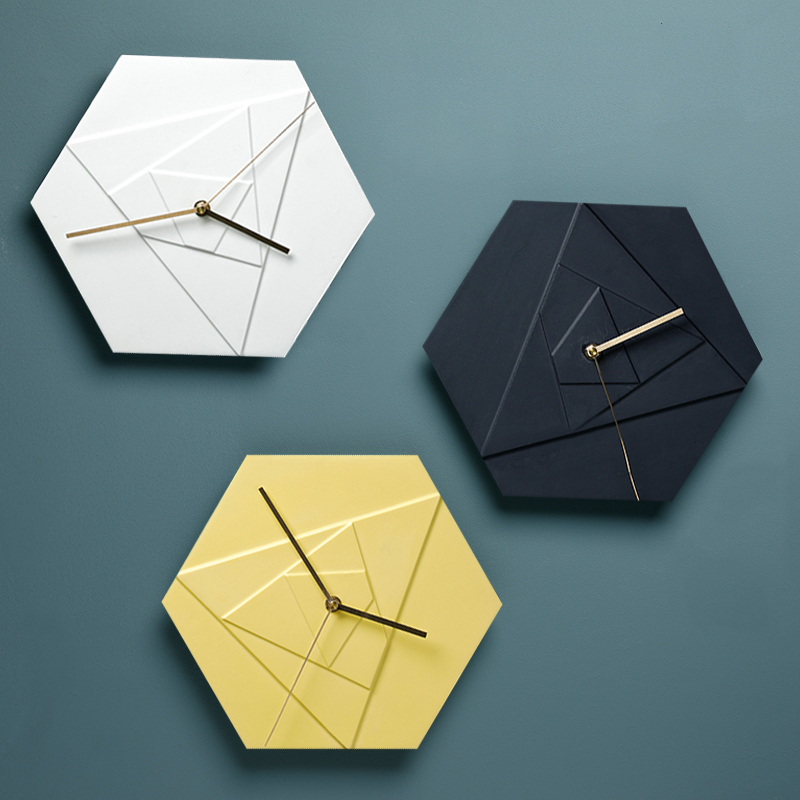 Creative Nordic ins Ceramic Perforation-free Clock Fashion Makaron Hexagonal Bedroom Silent Clock