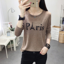 Long Sleeve T-shirt Women in Spring and Autumn 2019 New Style Outside Women's Fashion Embroidered Loose Top Shows Slim Bottom Shirt Tide
