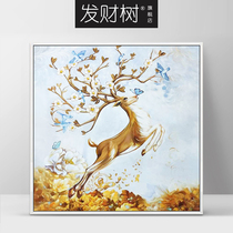 Prosperity Tree European Portal Hand-painted Oil Painting Purely Hand-made Customized Oil Painting American Restaurant Light Luxury Decorative Painting Elk