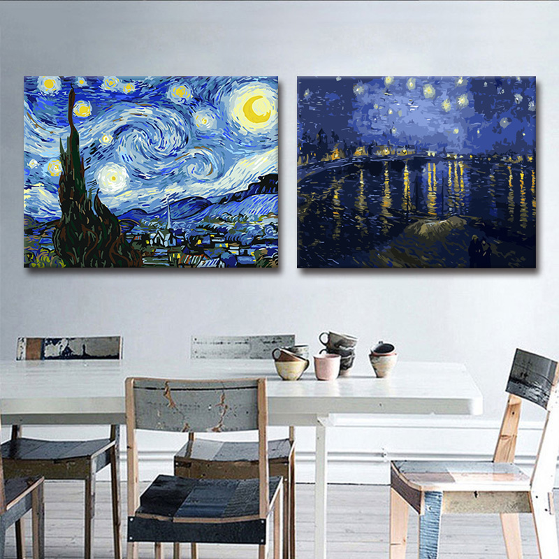 Van Gogh's famous painting Star Night Diy Digital Oil Painting Fills in the Area to Colour the Decorative Paintings of Harvest Cafe