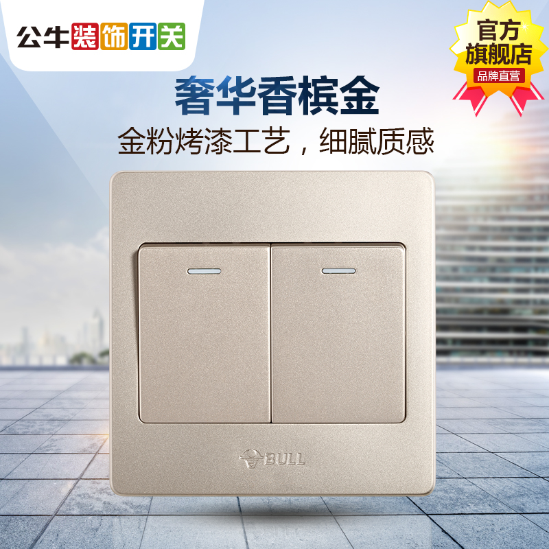 Bull switch socket two open two open dual control double open dual control panel 2 open two wall switch G07 gold