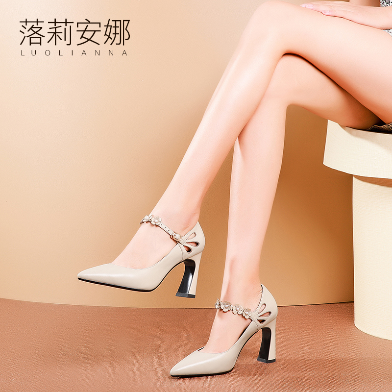 Single Shoe Female Spring 2019 New Type of 100 Sets of True Leather Coarse-heeled Female Shoes Flowers, Shallow-mouth Shoes, Tip-button High-heeled Shoes