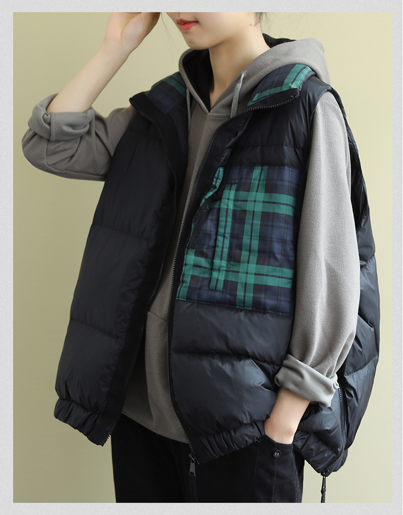 2021 new vest down jacket womens short Korean version loose-fitting literary collar small white duck down