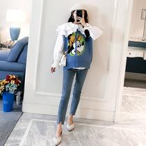 Одежда для беременных осень и зима костюм корейская версия весна и осень свободная кукла воротник белая рубашка плюс размер свитер мультфильм вязаный жилет