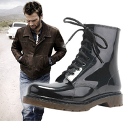 Fashion shoes for men in the spring and autumn rain slip short tube low waterproof overshoes Martin BOOTS Mens size boots