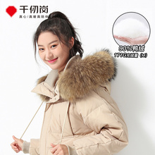 Qianjigang 2009 New Down Dress Female Korean Edition Thickened Winter Long Knee Big Hair Collar Profile Coat