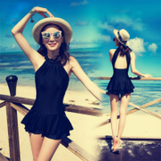 Purchasing new dimension multi cover belly thin black one-piece backless skirt conservative spa type swimwear bikinis