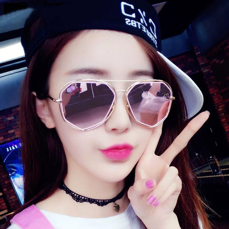 Sunglasses trend 2017gm star same round face personality pentagonal openwork Sunglasses SOHO glasses 12