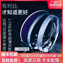 Eyeglass lens high myopia with ultra-thin 1 74 aspheric anti-Blue online with glasses myopia plus astigmatism discoloration