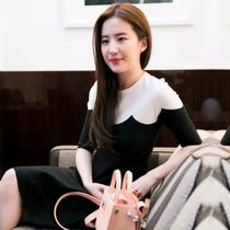 Майи платье Лю И Фэй с французским осенне-зимней моды темперамент черно-белый контраст вязать тонкий платье женщины