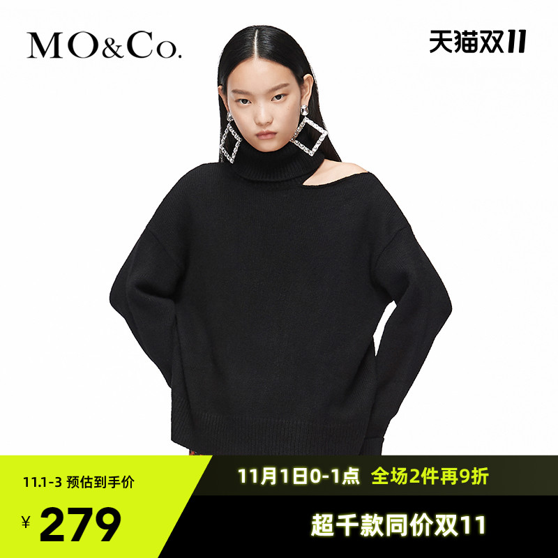 MOCO winter high-necked personality off-the-shoulder wool sweater MBO3SWTX07 moan