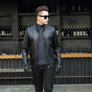 Haining leather jacket men sheep kawadate collar short paragraph biker jacket thin single slim and special offer