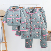 Parent-child pajamas winter three-layer padded padded mother and daughter Coral fleece home clothes set children flannel