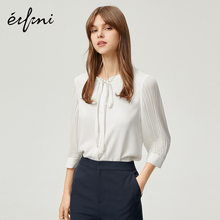 Evelyn shirt design sense blouse feminine style autumn dress 2019 new Korean version temperament White Chiffon shirt females