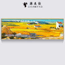Famous Painting Hand-painted Oil Painting Modern Hanging Painting Lightweight and Luxurious American Van Gogh Harvest Painting Sofa Fresco Living Room Decoration Painting Customization