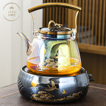 IKXO high temperature resistant shellfish color burning glass girder steaming teapot Household small set of electric ceramic stove kettle tea cooker set
