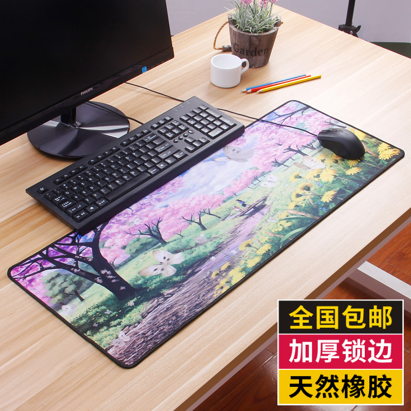 Laptop large mouse pad thickening long office anime cartoon cute table mat rubber pad girls