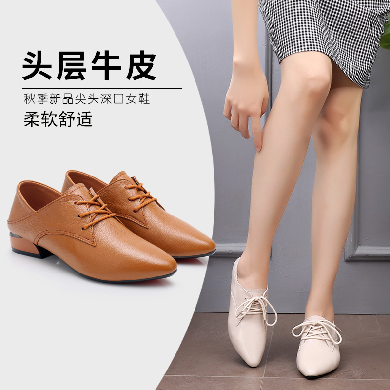 Autumn Women's Shoes 2018 New Fashion Shoes with Rough heels and pointed toes Autumn Leather Leisure British Small Leather Shoes