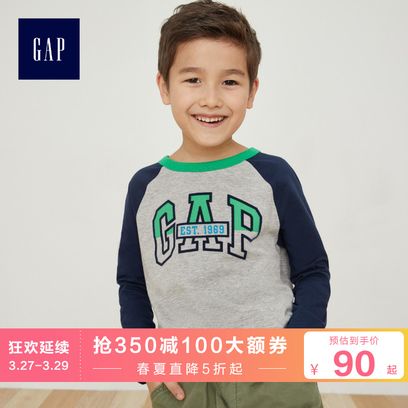 Gap Boys' casual round neck long sleeve T-shirt spring 399146 middle and big boys' logo color blocking top bottom