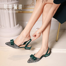 Green Baotou Sandals with Rough Heels 2019 New Spring and Summer Fashion Butterfly Knot Tip Low-heeled Flat-soled Shoes