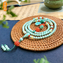 Meiyunxuan original mineral turquoise 108 hand string single circle beads Old type Buddha beads Loose beads Bodhi men and women bracelet accessories