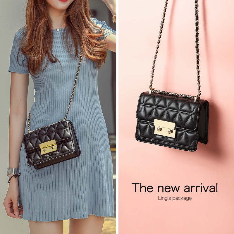 Somay bag 2018 new rhombic one-shoulder chain handbags Korean version of the wild ins texture girl small Messenger bag