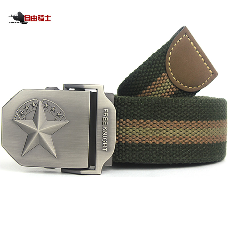 Free Knight Outdoor Canvas Belt Men and Women Tactical Belt Automatic Buckling Lovers and Thicker Nylon Belt