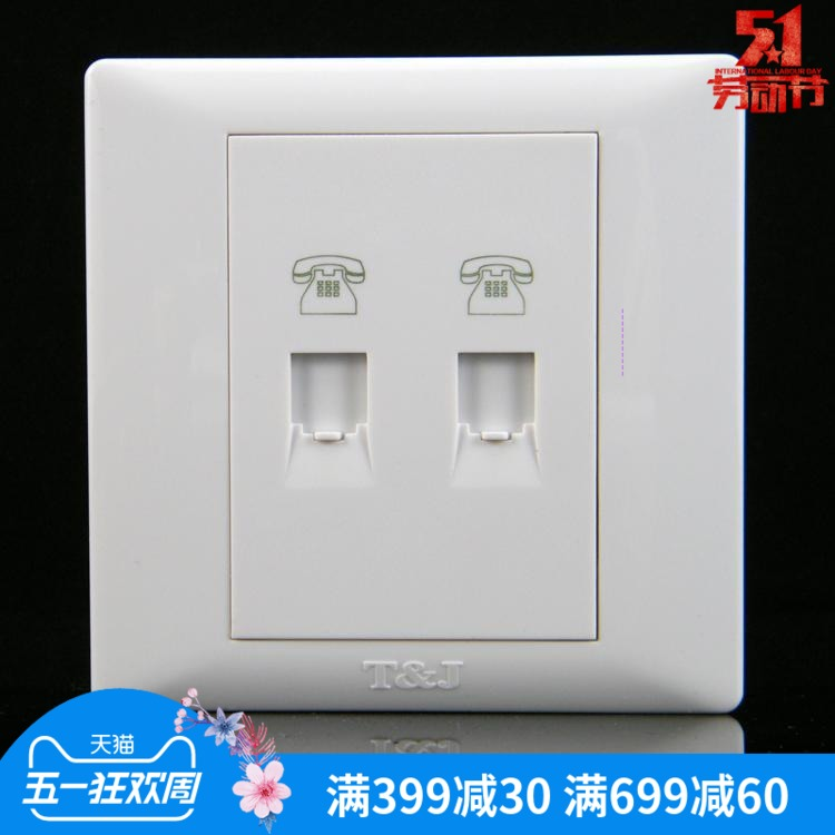 T& J TJ space-based switch socket panel Yueting Yueju series Yabai two-digit dual-phone two-in and two-out